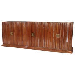 Large Lacquered Mahogany with Brass Trim Credenza Sideboard by Tommi Parzinger