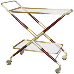 Brass and Mahogany Drinks Cart by Cesare Lacca