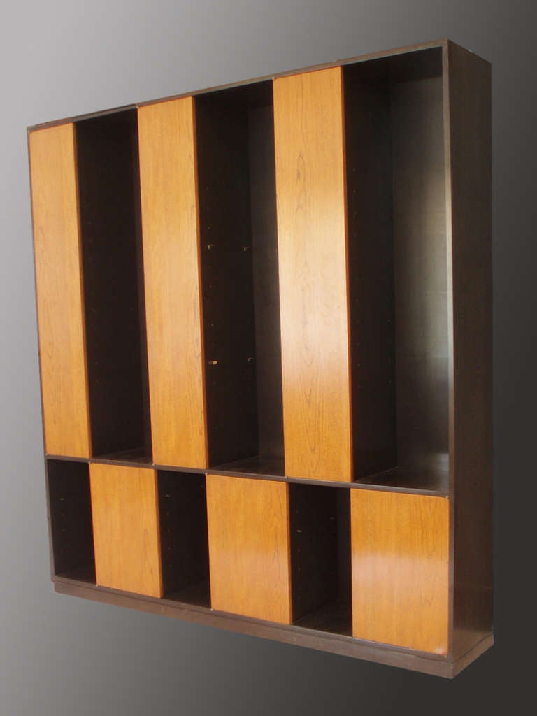 American Large Alternating Door Cabinet with Glass Shelves by Harvey Probber for Probber For Sale