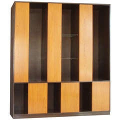 Large Alternating Door Cabinet with Glass Shelves by Harvey Probber for Probber