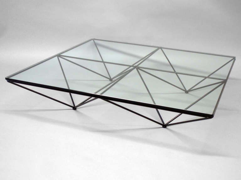 Wrought Iron With Glass Geometric Theme Coffee Table By Paolo Piva At 1stdibs