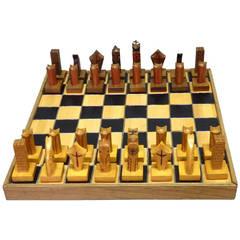 Folk Art Jail House Style Chess Set