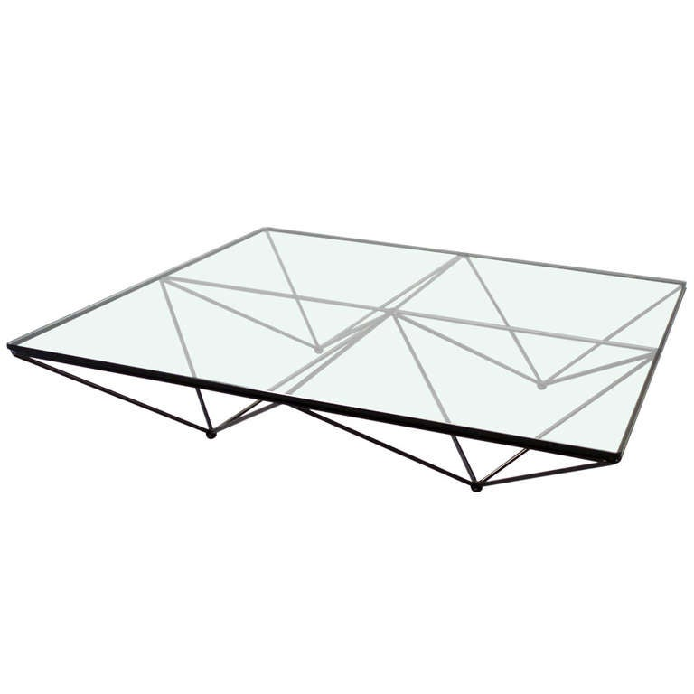 Charles Modern 47 Square Glass Top Coffee Table W: Wrought Iron With Glass Geometric Theme Coffee Table By