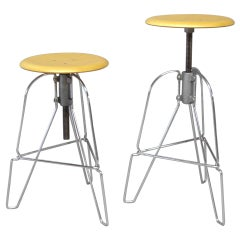 Pair of Industrial Chic Steel and Wood Adjustable Bar Stools