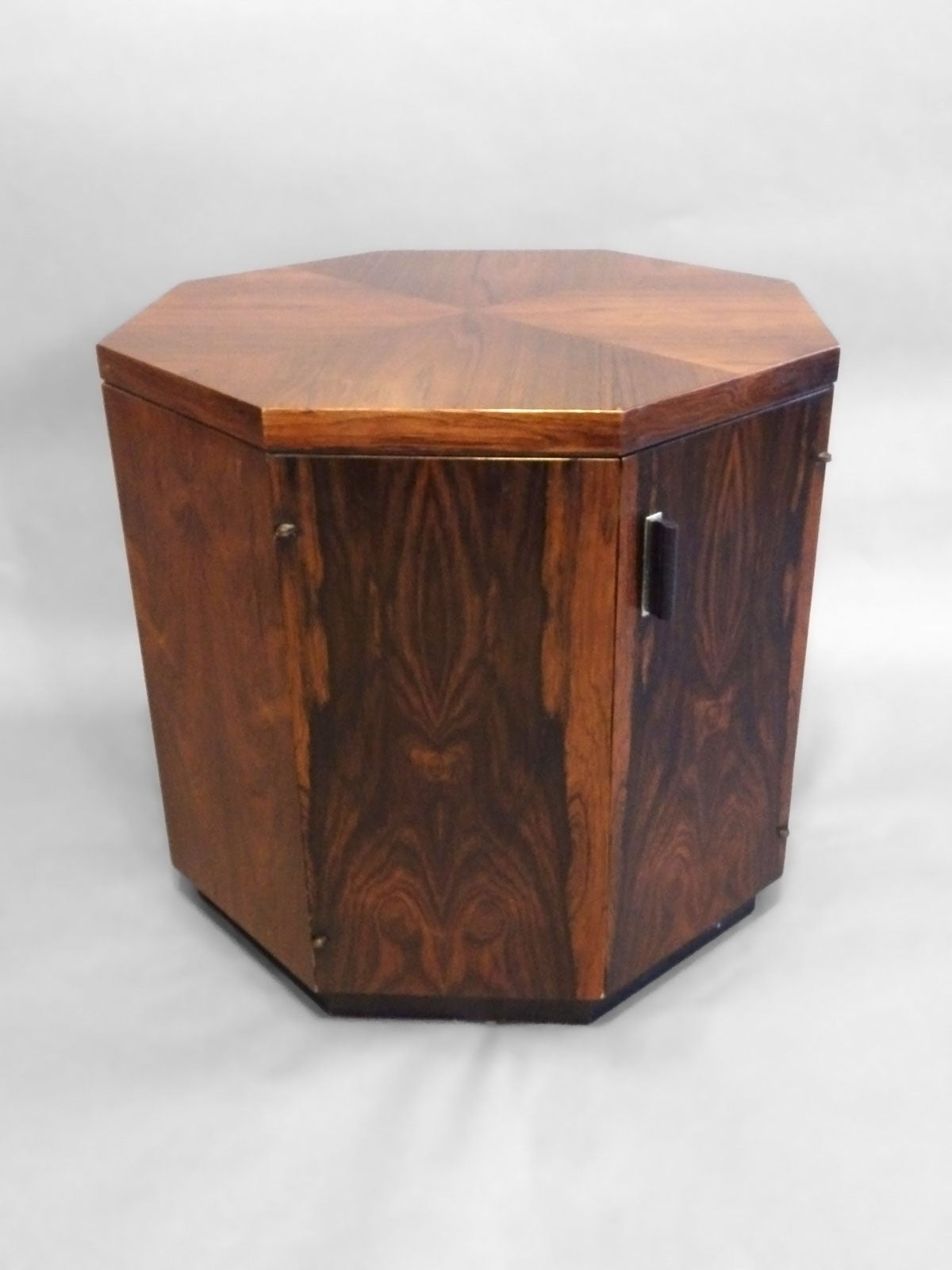 Rosewood octagon side table cabinet by harvey probber at