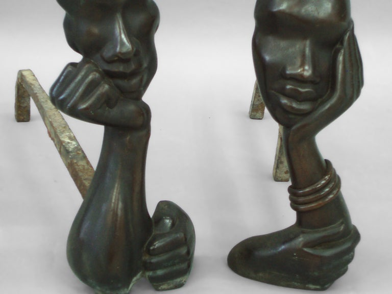 Art Deco Figural Bronze Andirons in the Style of Hagenauer For Sale