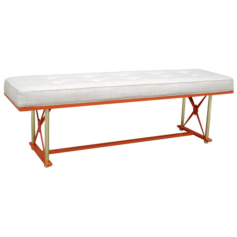 Lacquered Steel With Brass Upholstered Bench In The Style