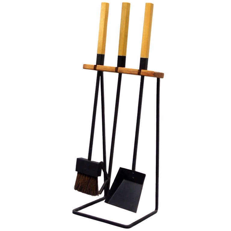 Wood Handle Modernist Fire Tools at 1stdibs