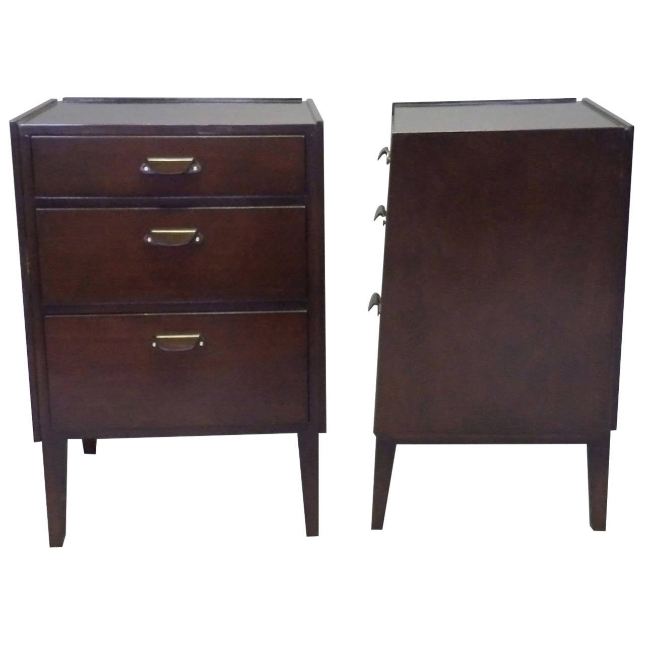 Pair of Edward Wormley for Dunbar Angle Front Nightstands