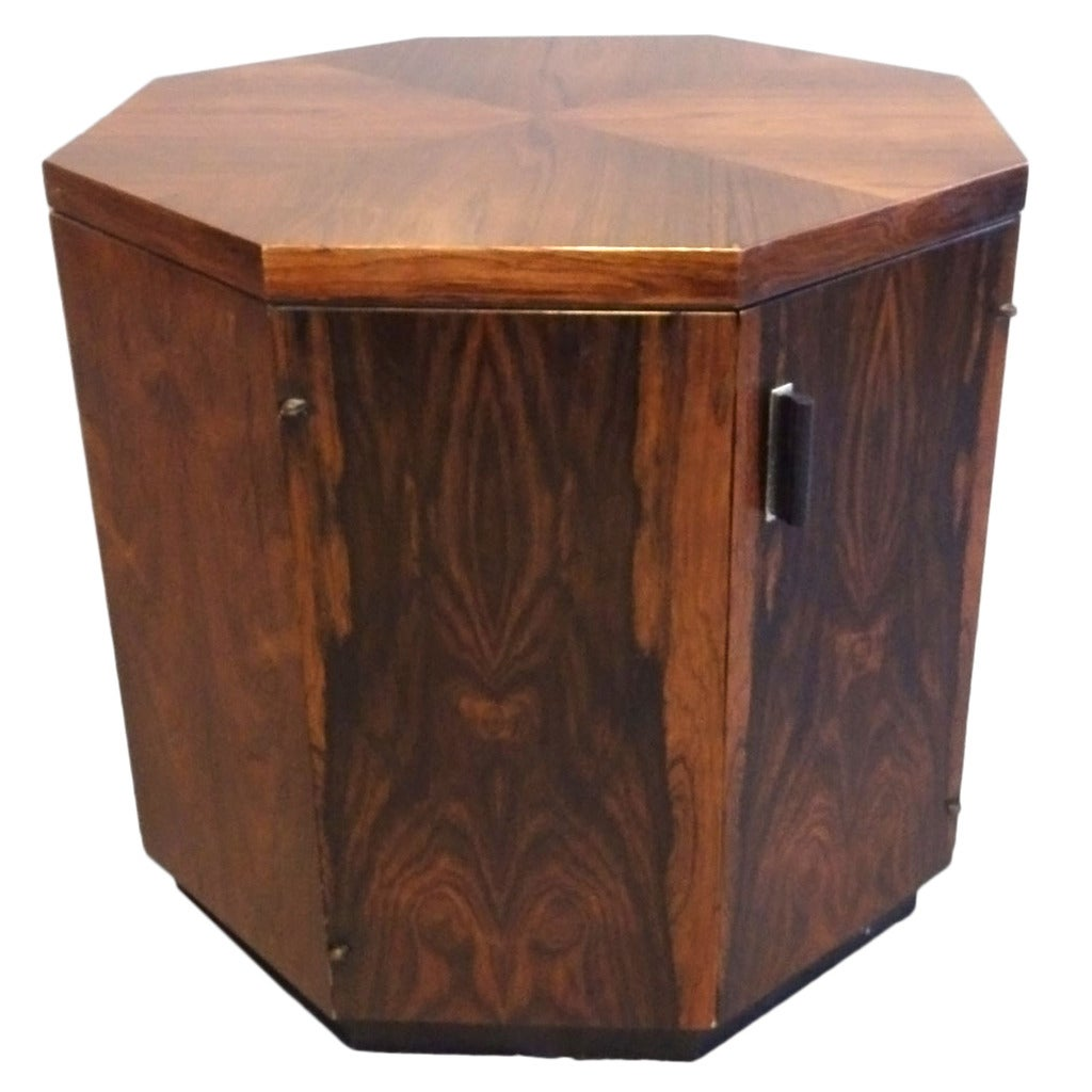 Octagon Side Table ~ Rosewood octagon side table cabinet by harvey probber at