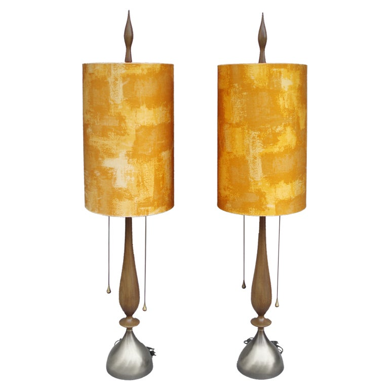 Pair of Walnut with Brass Trim Table Lamps