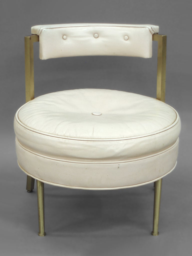 Leather With Brass Leg Vanity Or Boudoir Stool At 1stdibs