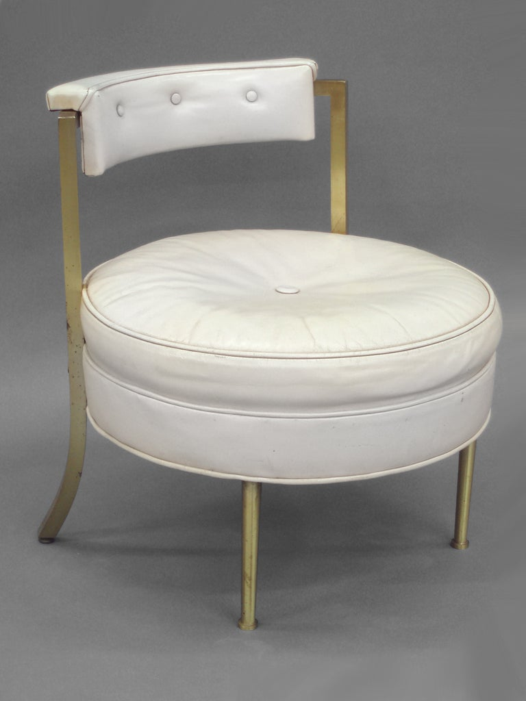 American Leather with Brass Leg Vanity or Boudoir Stool
