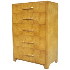American Art Deco Moderne Burl Wood Chest of Drawers Attributed to Donald Deskey