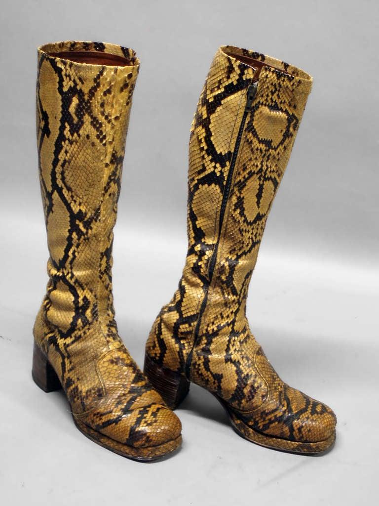 Pair Of Disco Era Snakeskin Platform Boots For Sale At 1stdibs