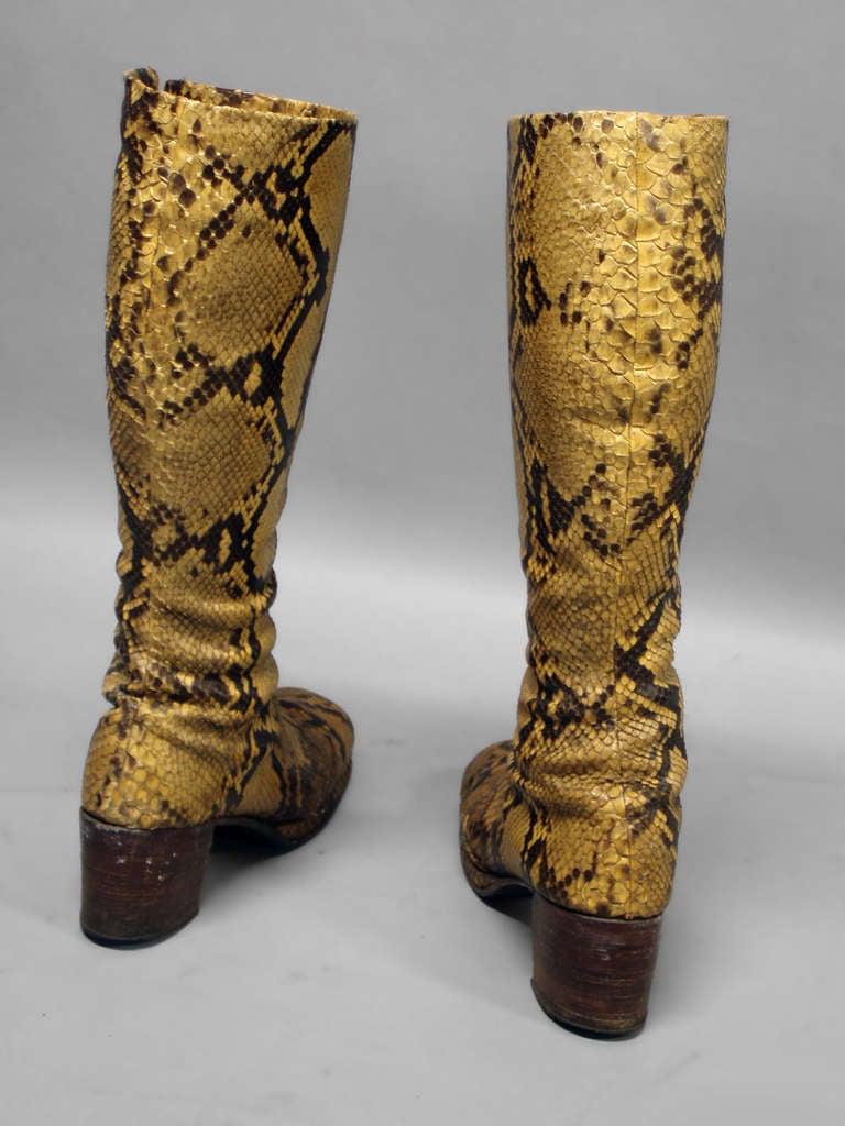 pair of disco era snakeskin platform boots at 1stdibs