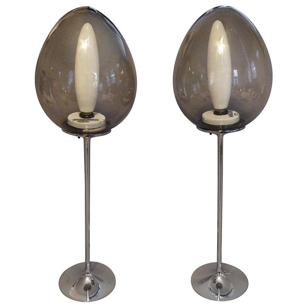 Pair of Chrome Base Stemlite Mushroom Globe Lamps
