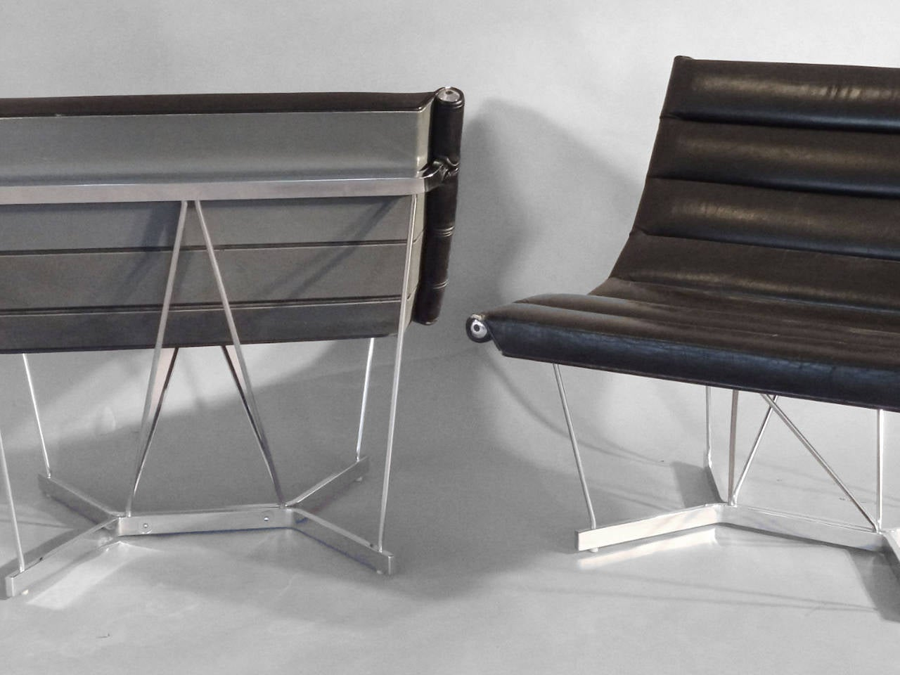 American Scarce Pair of George Nelson Chrome Base Leather Catenary Chairs For Sale
