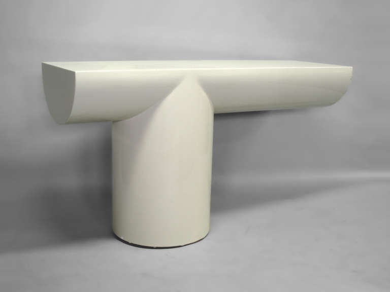 American Late Century Modern Asymmetrical Lacquered Console Table inspired by Brueton For Sale