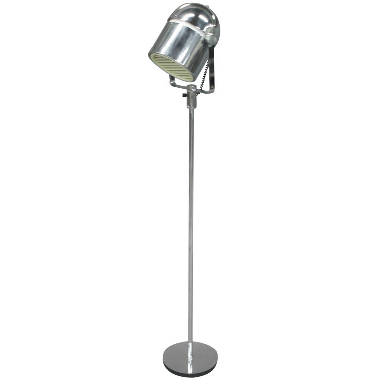 Chrome helmet floor lamp at 1stdibs for Tecton chrome floor lamp