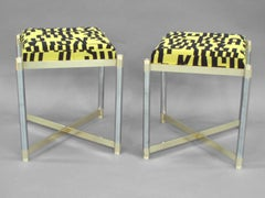 Pair of Brass with Steel Stools by the Weiman Co. Upholstered in letters textile