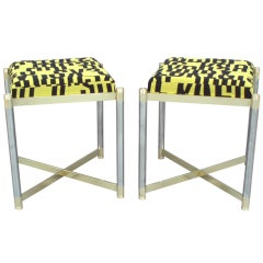 Pair of Brass with Steel Upholstered Stools by the Weiman Co