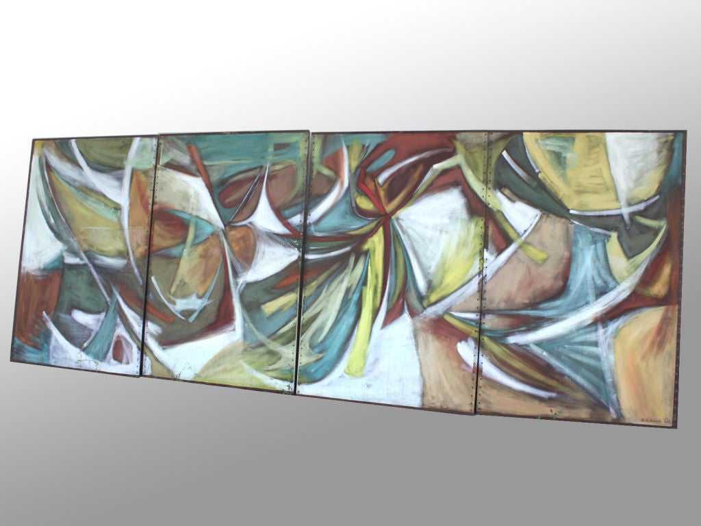 Four piece mural large abstract expressionist style for Abstract mural painting