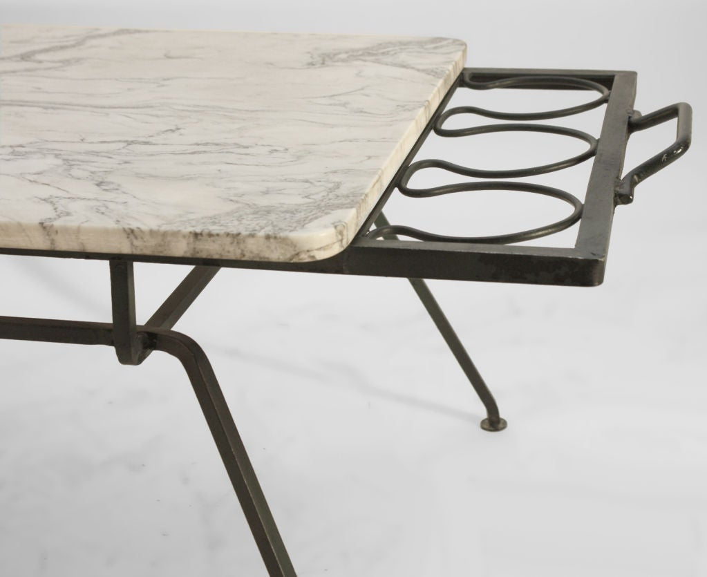 Marble Top And Steel Coffee Table At 1stdibs