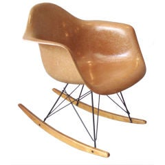 Fiberglass Steel Rod Maple Rocker by Charles and Ray Eames