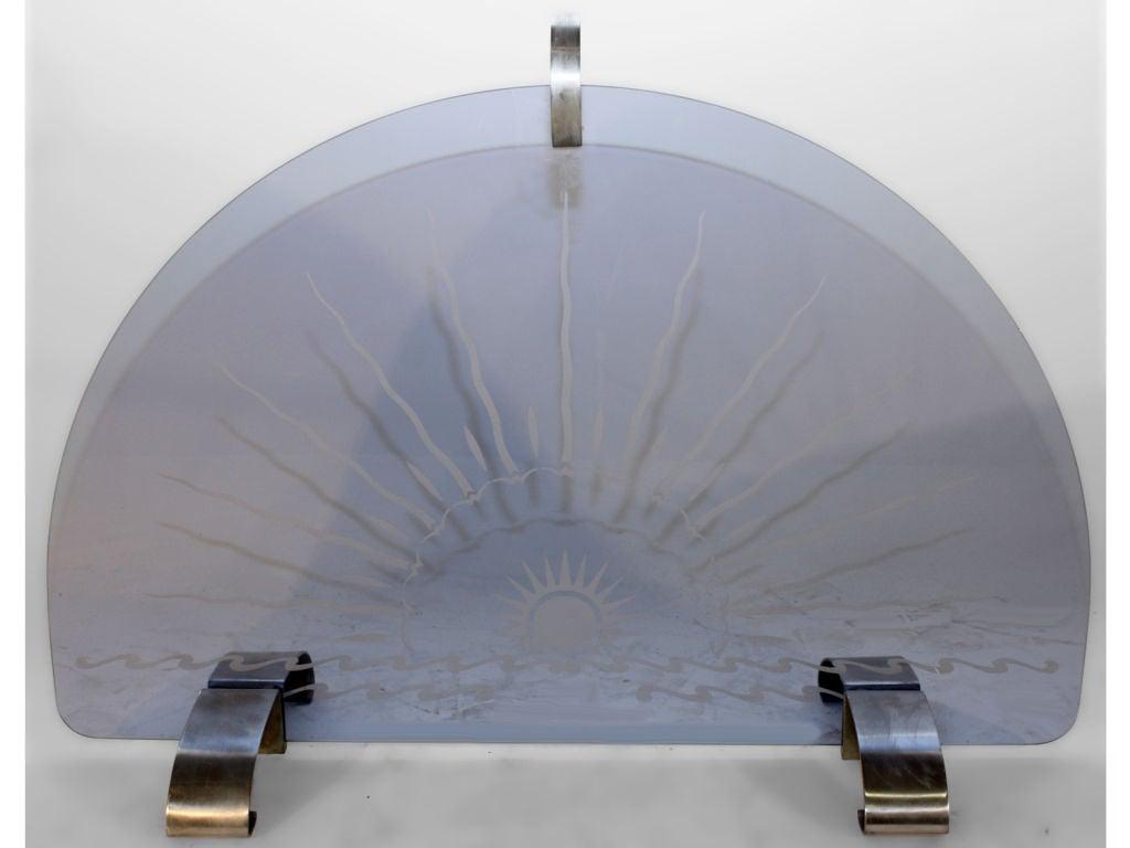 Art Deco Blue Glass Fire Screen Spark Guard At 1stdibs