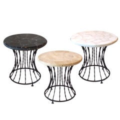 Set of Three Wrought Iron Base Marble Top Tables
