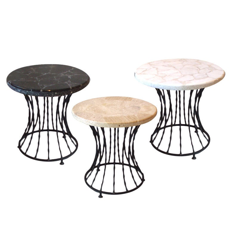 Set of three wrought iron base marble top tables at 1stdibs for Wrought iron table bases marble top