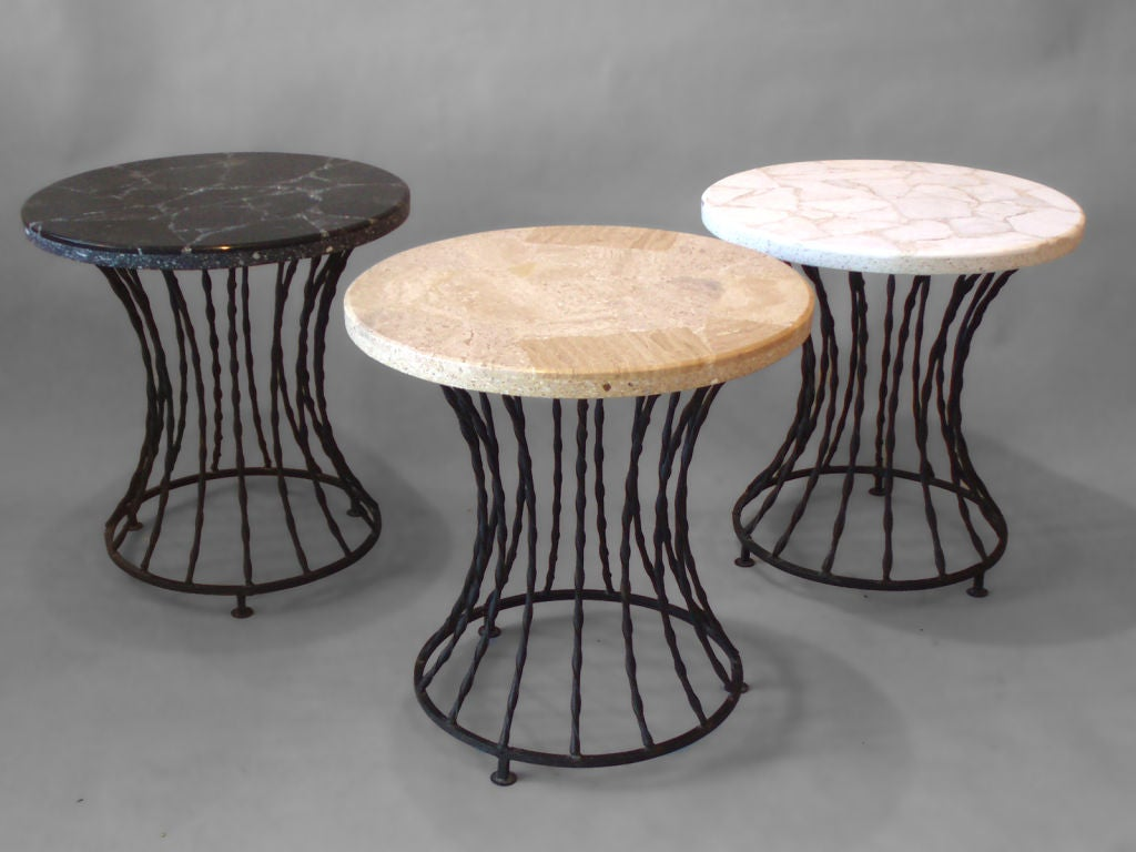 Set of three wrought iron base marble top tables at 1stdibs for Wrought iron side table base