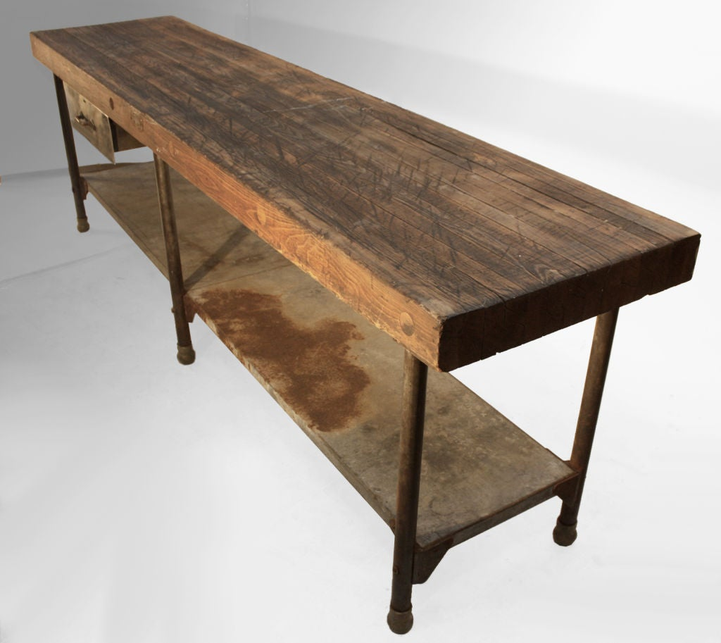 Large early industrial work table kitchen island table at for Kitchen island table