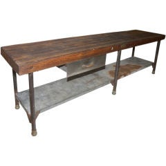 Large Early Industrial Work table, Kitchen Island table
