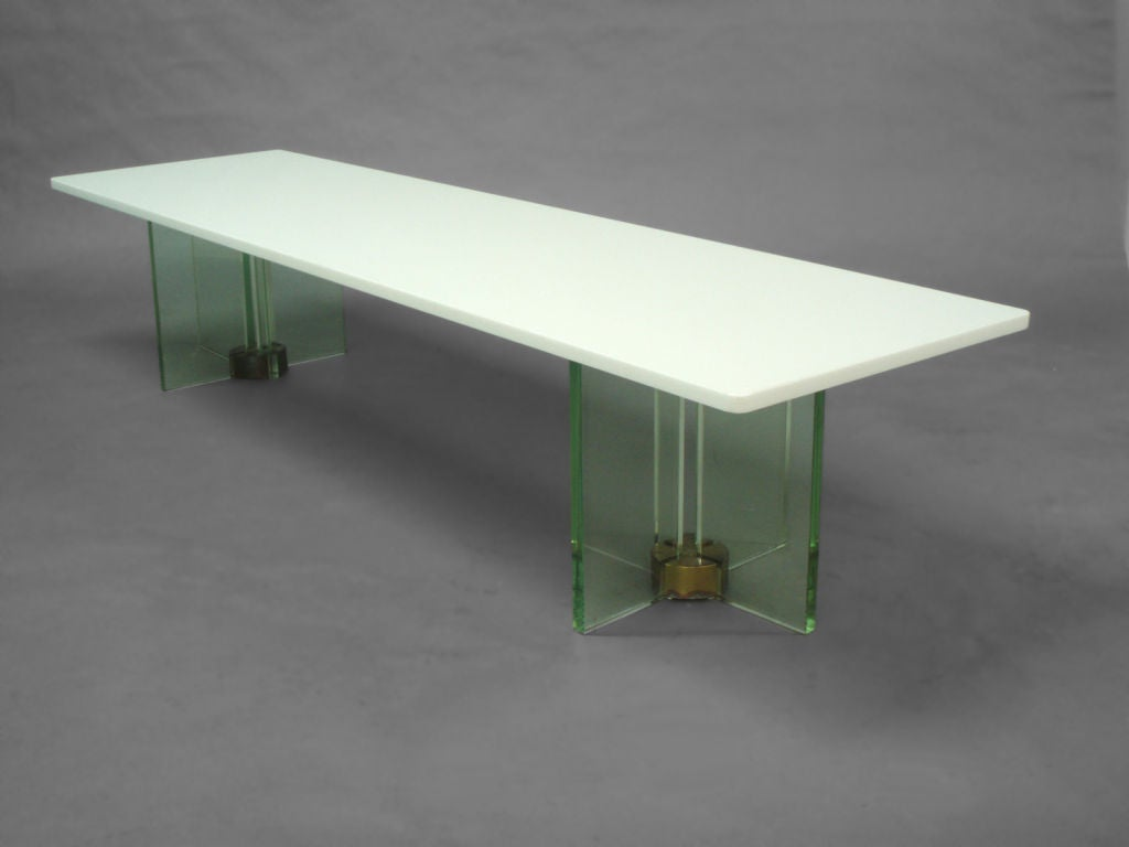 White Vitrolite Glass Top On Cruciform Glass Base Cocktail Table At 1stdibs