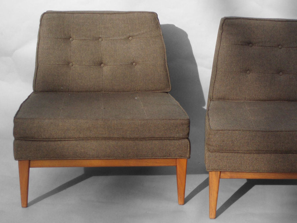 Perfect Pair Walnut Base Armless Lounge Chairs Attributed To Larsen 2