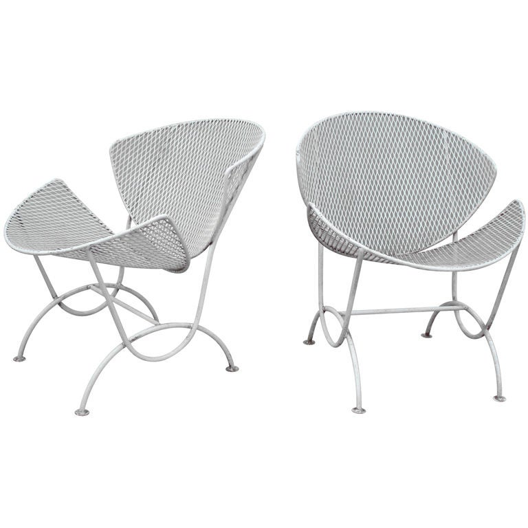 Pair Wrought Iron Patio Lounge Chairs Probably Salterini at 1stdibs