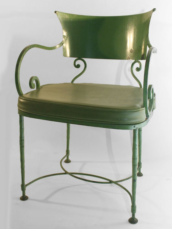 Pair Belle Epoch Iron Lawn Chairs Two Scroll Arm Chairs