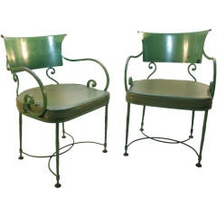 Pair Belle Epoch Iron Lawn Chairs - Two scroll Arm chairs