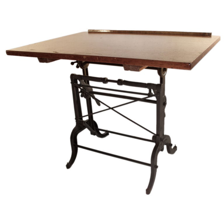 Iron Base Adjustable Drafting Table At 1stdibs