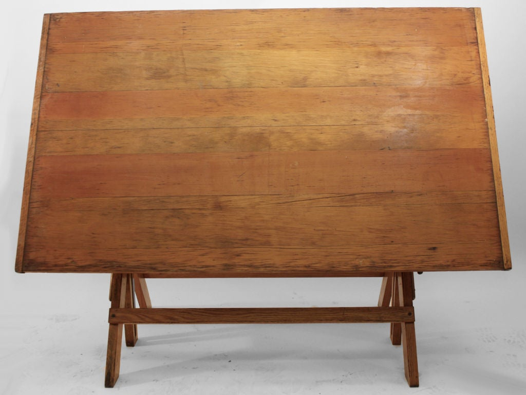 20th Century Large Oak Drafting Table For Sale