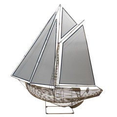 Curtis Jere Sailboat Large Boat sculpture signed and dated