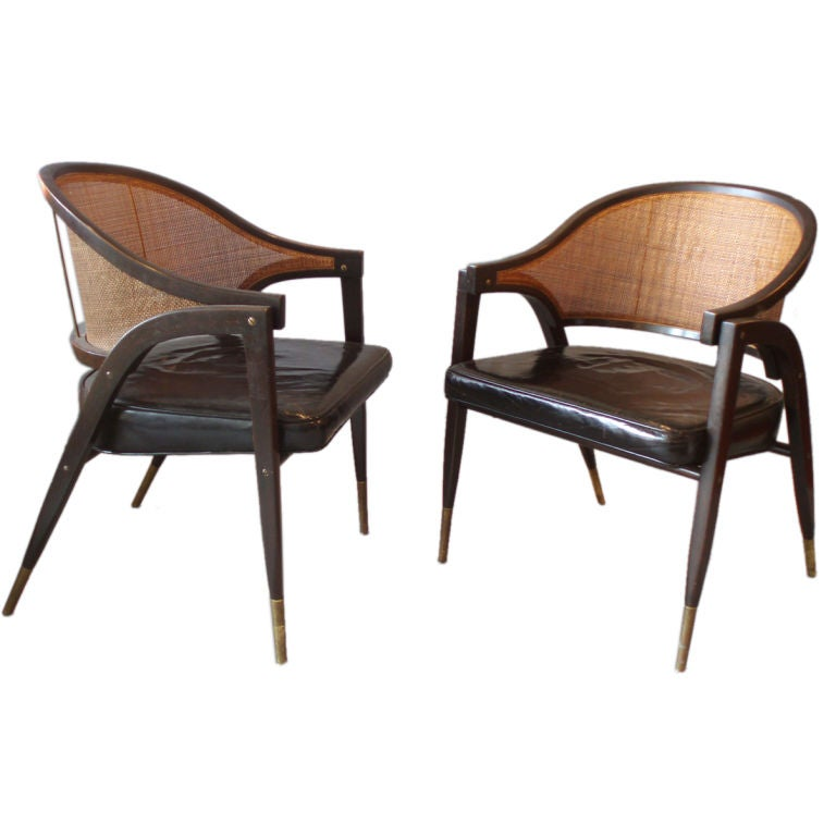 Cane Back Leather Seat Lounge Chairs by Edward Wormley at