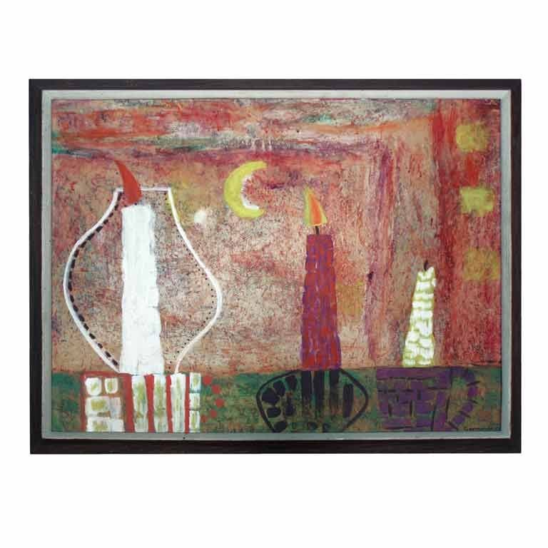 """Oil on Board """"Eclipse by Candlelite"""" by William George Nes For Sale"""