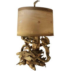 Large driftwood table lamp