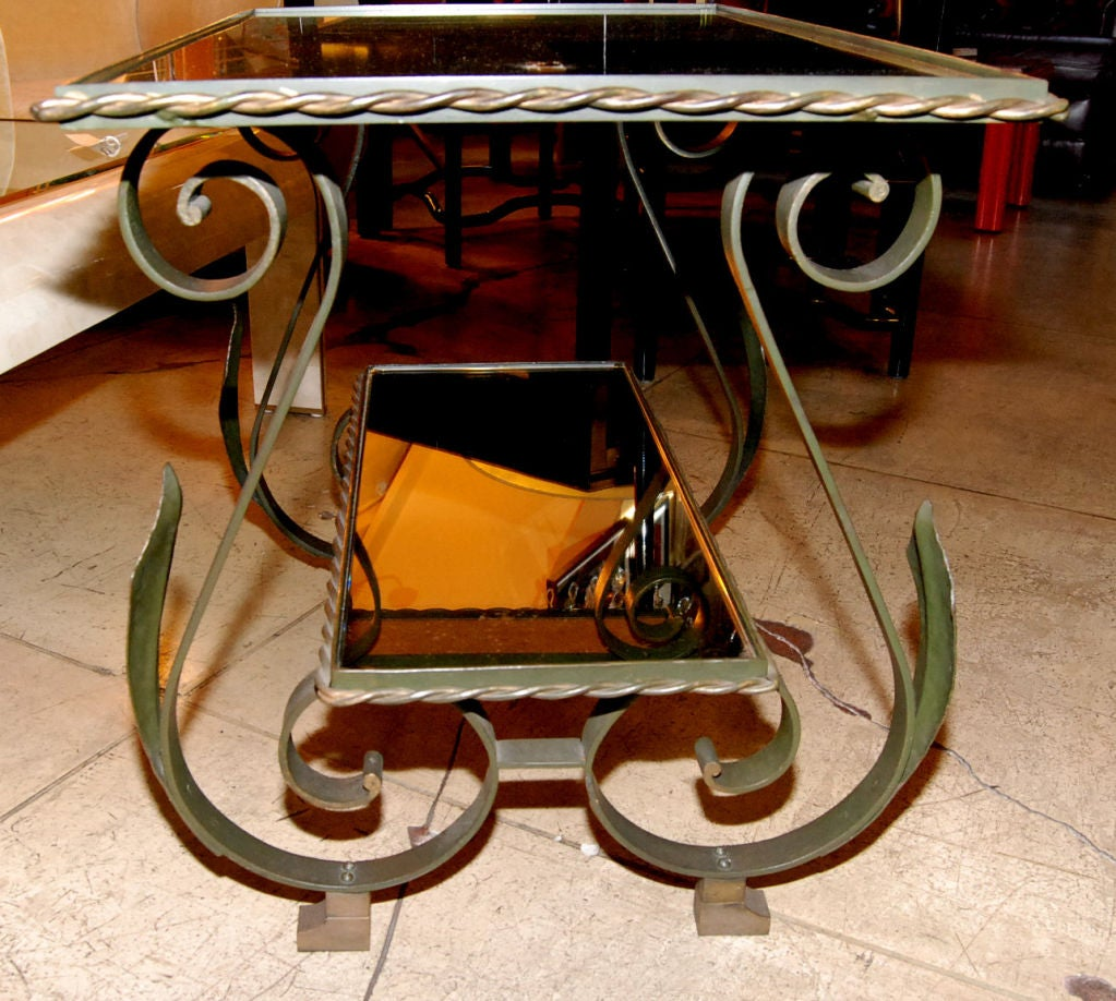 1940s French Wrought Iron Side Table For Sale 2