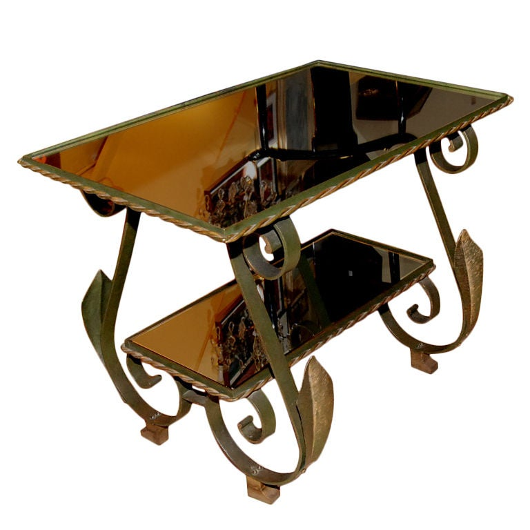 1940s French Wrought Iron Side Table For Sale