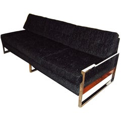 1960s Milo Baughman Style Chrome-Plated Sofa