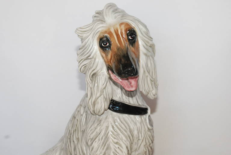 Large Vintage Italian Ceramic Dog Sculpture 4
